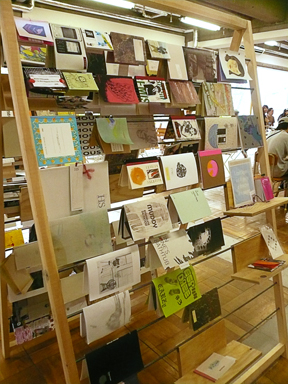 Zines on display, vertical