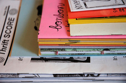 a stack of zines, from Sweetie Pie Press' flickr...