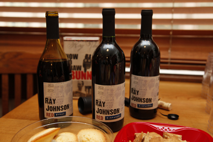 "yep, that's wine. and yep: the label says ""ray johnson red""..."