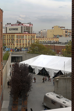 our beautiful schoolyard tent, as seen from the third floor...
