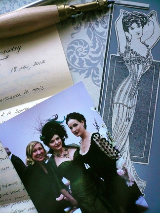 Autumn's handwritten letter, ready to go (photo is from the black tie party...)