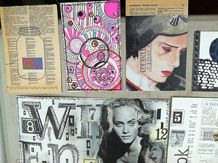 a sampling of the collages and postcards made in class...
