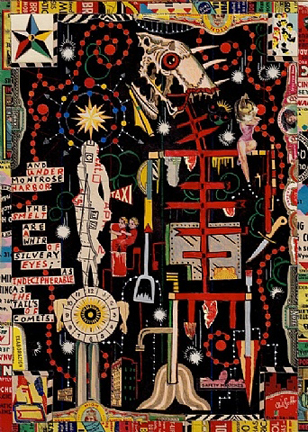 """The Juarez Beast"", from the Juarez Drawing Collage Series by Tony Fitzpatrick"