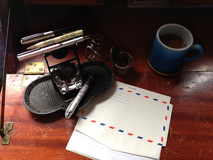 coffee? check. pens? check. airmail stripes? check!