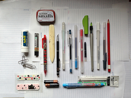 all these items, in that unassuming pencil case!