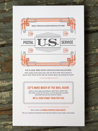 "Thomas Printers strongly encourages you to ""save the USPS""..."