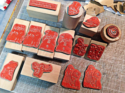 some Posada rubber stamps I had made especially for the event...