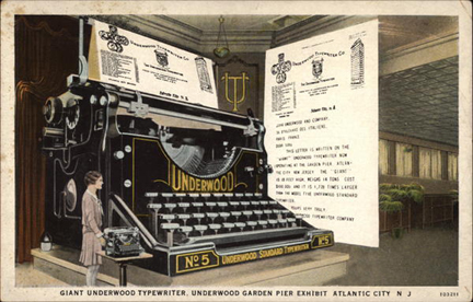 Giant Underwood Typewriter, Underwood Garden Pier Exhibit Atlantic City